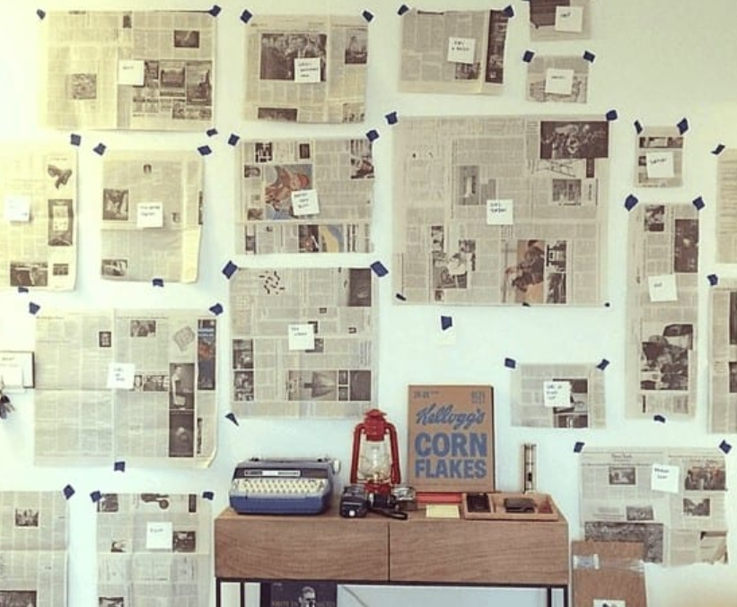 40. Plan Out A Wall With Newspapers