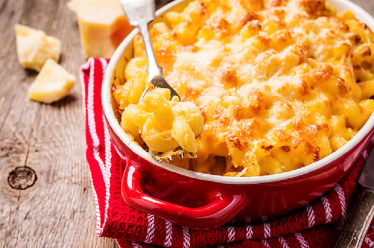 Mac And Cheese, American Style Macaroni Pasta In Cheesy Sauce